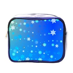 Blue Hot Pink Pattern Blue Star Background Mini Toiletries Bag (one Side)
