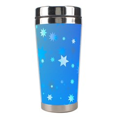Blue Hot Pink Pattern Blue Star Background Stainless Steel Travel Tumblers