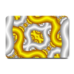 Fractal Background With Golden And Silver Pipes Small Doormat
