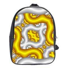 Fractal Background With Golden And Silver Pipes School Bag (large)