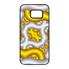 Fractal Background With Golden And Silver Pipes Samsung Galaxy S7 Edge Black Seamless Case