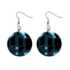 A Completely Seamless Background Design Circuitry Mini Button Earrings