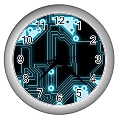 A Completely Seamless Background Design Circuitry Wall Clock (silver)