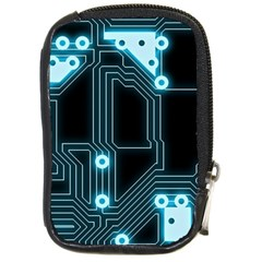 A Completely Seamless Background Design Circuitry Compact Camera Leather Case by Jojostore