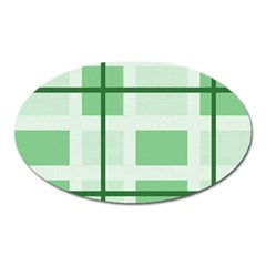 Abstract Green Squares Background Oval Magnet by Jojostore