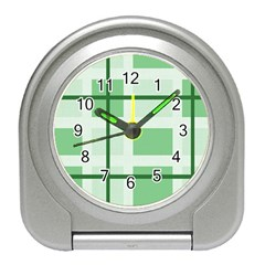 Abstract Green Squares Background Travel Alarm Clock by Jojostore