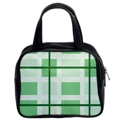 Abstract Green Squares Background Classic Handbag (two Sides)