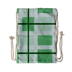 Abstract Green Squares Background Drawstring Bag (small)