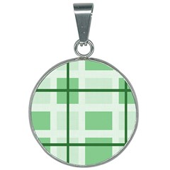 Abstract Green Squares Background 25mm Round Necklace