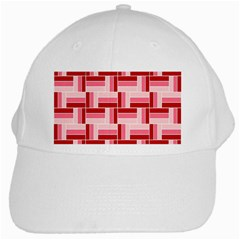 Pink Red Burgundy Pattern Stripes White Cap by Jojostore
