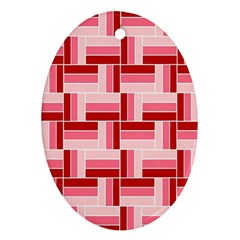 Pink Red Burgundy Pattern Stripes Ornament (oval)