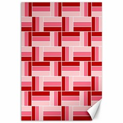 Pink Red Burgundy Pattern Stripes Canvas 12  X 18