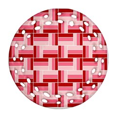 Pink Red Burgundy Pattern Stripes Ornament (round Filigree)