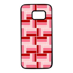 Pink Red Burgundy Pattern Stripes Samsung Galaxy S7 Black Seamless Case