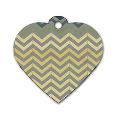 Abstract Vintage Lines Dog Tag Heart (one Side)