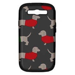 Cute Dachshund Dogs Wearing Jumpers Wallpaper Pattern Background Samsung Galaxy S Iii Hardshell Case (pc+silicone)