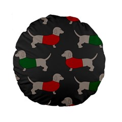 Cute Dachshund Dogs Wearing Jumpers Wallpaper Pattern Background Standard 15  Premium Flano Round Cushions