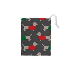 Cute Dachshund Dogs Wearing Jumpers Wallpaper Pattern Background Drawstring Pouch (xs) by Jojostore