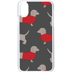 Cute Dachshund Dogs Wearing Jumpers Wallpaper Pattern Background Apple Iphone X Seamless Case (white)