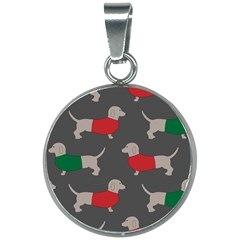 Cute Dachshund Dogs Wearing Jumpers Wallpaper Pattern Background 20mm Round Necklace by Jojostore