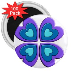 Light Blue Heart Images 3  Magnets (100 Pack)