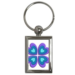 Light Blue Heart Images Key Chains (rectangle)