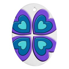 Light Blue Heart Images Oval Ornament (two Sides)