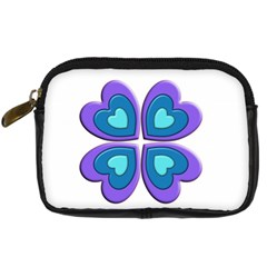 Light Blue Heart Images Digital Camera Leather Case
