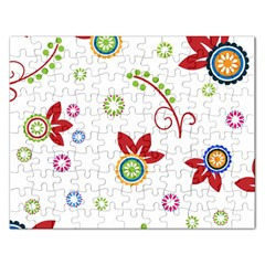 Colorful Floral Wallpaper Background Pattern Rectangular Jigsaw Puzzl