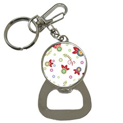 Colorful Floral Wallpaper Background Pattern Bottle Opener Key Chains