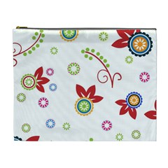 Colorful Floral Wallpaper Background Pattern Cosmetic Bag (xl)