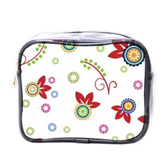 Colorful Floral Wallpaper Background Pattern Mini Toiletries Bag (one Side)