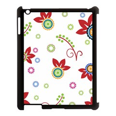 Colorful Floral Wallpaper Background Pattern Apple Ipad 3/4 Case (black)
