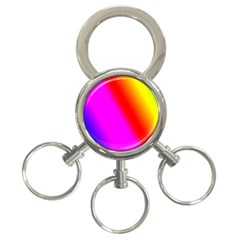Multi Color Rainbow Background 3 Ring Key Chains