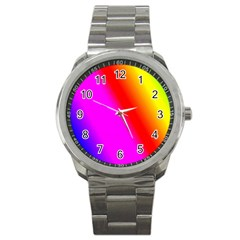 Multi Color Rainbow Background Sport Metal Watch