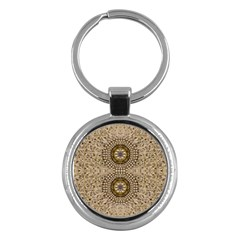 Moon Shine Over The Wood In The Night Of Glimmering Pearl Stars Key Chains (round)  by pepitasart