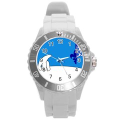 Flag Of The Franco T¨|nois Round Plastic Sport Watch (l) by abbeyz71
