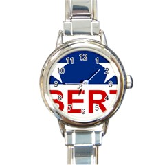 Flag Of The Republic Of Canada Round Italian Charm Watch by abbeyz71
