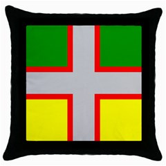 Flag Of Saguenay Lac Saint Jean Throw Pillow Case (black) by abbeyz71