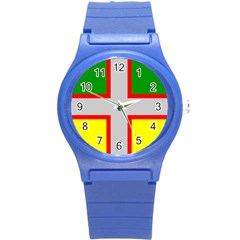 Flag Of Saguenay Lac Saint Jean Round Plastic Sport Watch (s) by abbeyz71