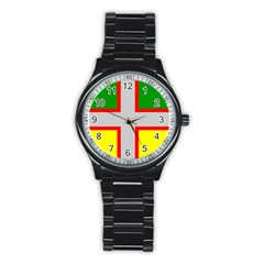 Flag Of Saguenay Lac Saint Jean Stainless Steel Round Watch by abbeyz71