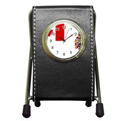 Flag Of Canadian Armed Forces Pen Holder Desk Clock by abbeyz71