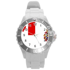 Flag Of Canadian Armed Forces Round Plastic Sport Watch (l) by abbeyz71