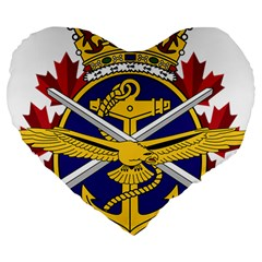 Badge Of Canadian Armed Forces Large 19  Premium Flano Heart Shape Cushions by abbeyz71