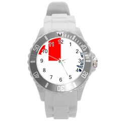 Naval Ensign Of Canada Round Plastic Sport Watch (l) by abbeyz71
