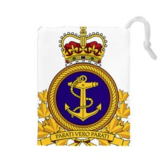 Badge Of Royal Canadian Navy Drawstring Pouch (large)