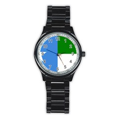 Flag Of West Puntland Stainless Steel Round Watch