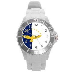 Flag Of Azores Round Plastic Sport Watch (l) by abbeyz71