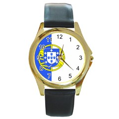 Proposed Flag Of Portugalicia Round Gold Metal Watch