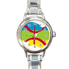 Kabylie Flag Map Round Italian Charm Watch